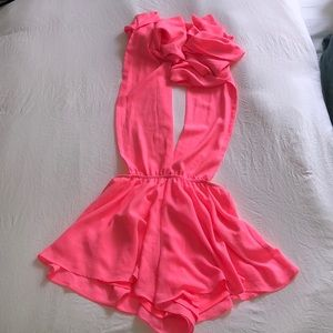 Hot & Delicious Hot Pink Wrap Romper sz M